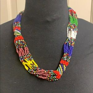 Handmade beaded multi colored necklace